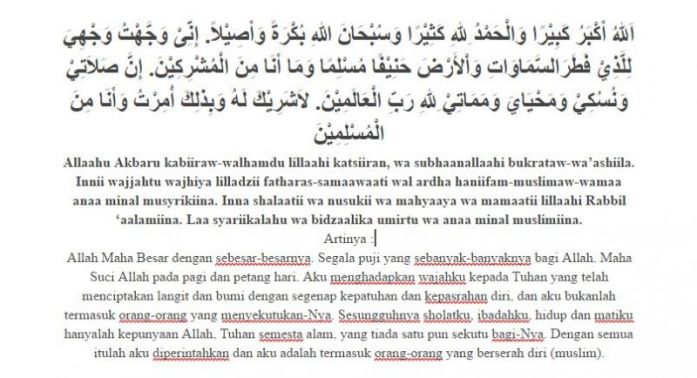 Tuntunan Sholat doa iftitah