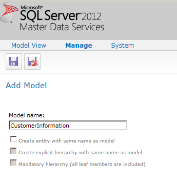 1 create a Model in Master Data Services
