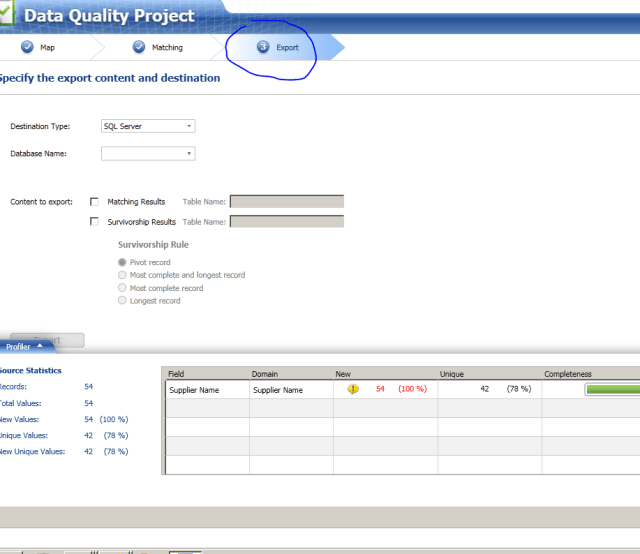 4b matching activity data quality services microsoft sql export step