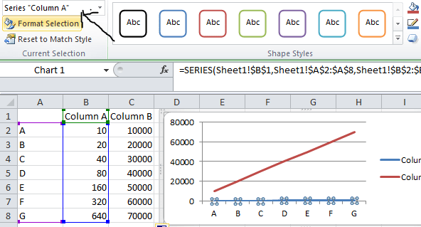 select column in format area data excel chart
