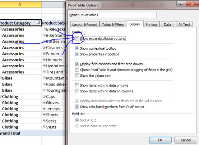 pivot table hide expand collapse button