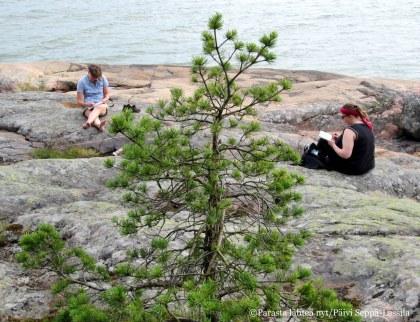 Kuuvan kallioilla oli mukavaa luonnostella.
