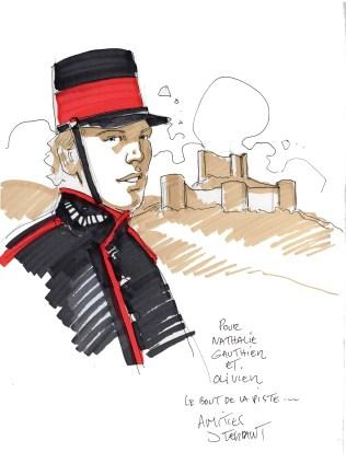 Dédicace de Jacques Terpant réalisée à Lagrasse le 8 octobre 2016. En arrière plan la silhouette du château d'Aguilar, sur la B.D. Le Pont de Sépharée