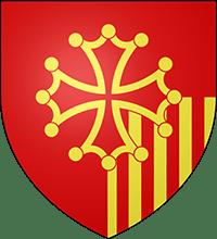 Blason du Languedoc-Roussillon associant les armes des comtes de Toulouse et des comtes de Barcelone. A noter que les pals catalans sont ici à droite (à sénestre ne héraldique) dans une position qui rappelle la situation géographique par rapport à la France. Pour des raisons graphiques les mêmes pals sont à gauche dans le logo.
