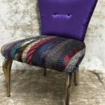 SOLE RODRIGUEZ_55_06, poltrona dipinta con acrilico oro e rivestita in seta e raso, D
