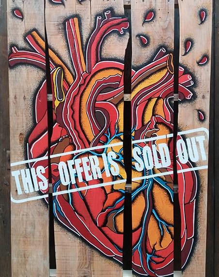 Sold Out, Acrilico e Pantoni su Pallet in legno, 80x120, 2017