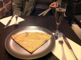 """Crepe with chestnut """"sauce"""" and cider"""