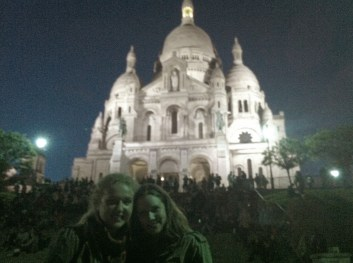 Wine, cheese, and chocolate on the steps of the Sacre Couer with Lauren