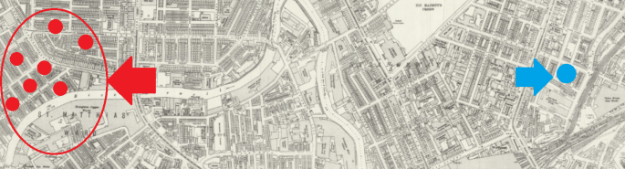 A historic map of Manchester has been overlaid with a cluster of red dots on the left hand side, and a single blue dot on the right.