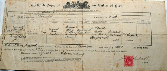 Original birth certificate from 1909.