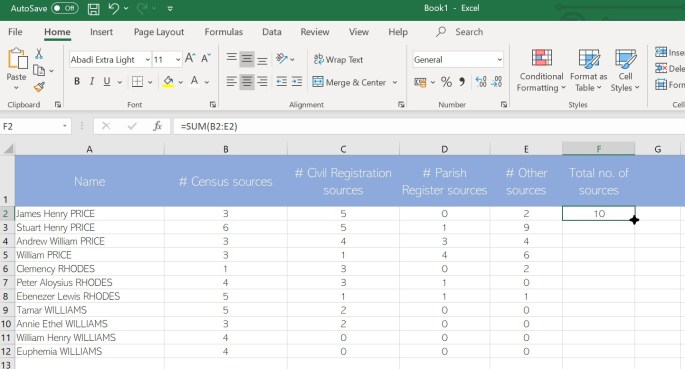 Demonstration of how to fill in a formula in Excel and copy it down a column