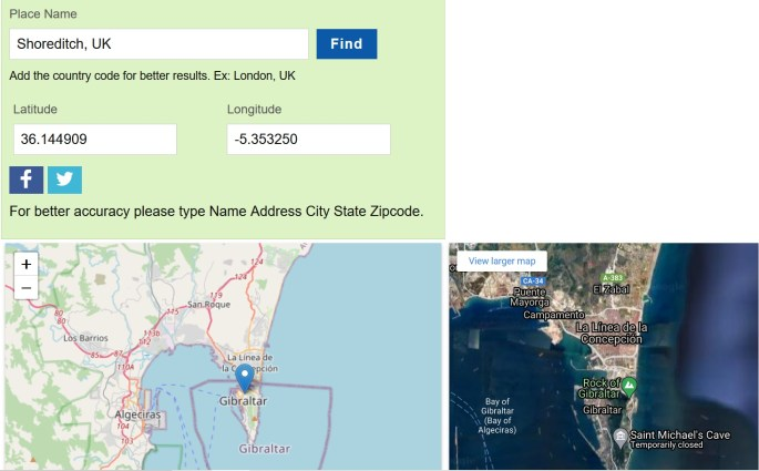 Erroneous geocoding results for Shoreditch, UK, showing instead a map of Gibraltar.
