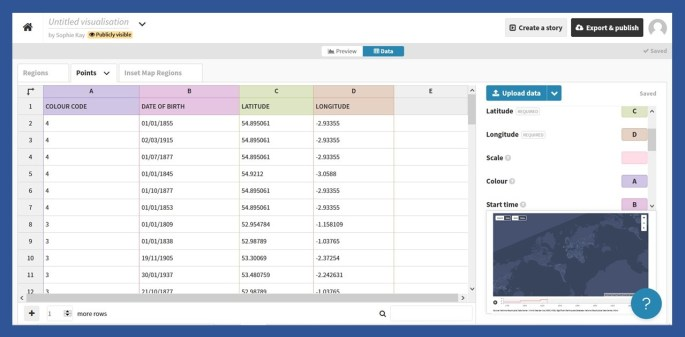 Data input interface in Flourish. Coloured columns show the uploaded data.