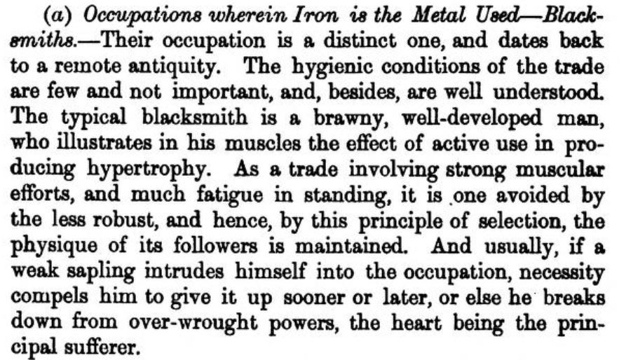 Arlidge description of the physicality of the blacksmith role - typically a brawny, well developed man...a weak sapling...breaks down from over wrought powers, the heart being the principal sufferer