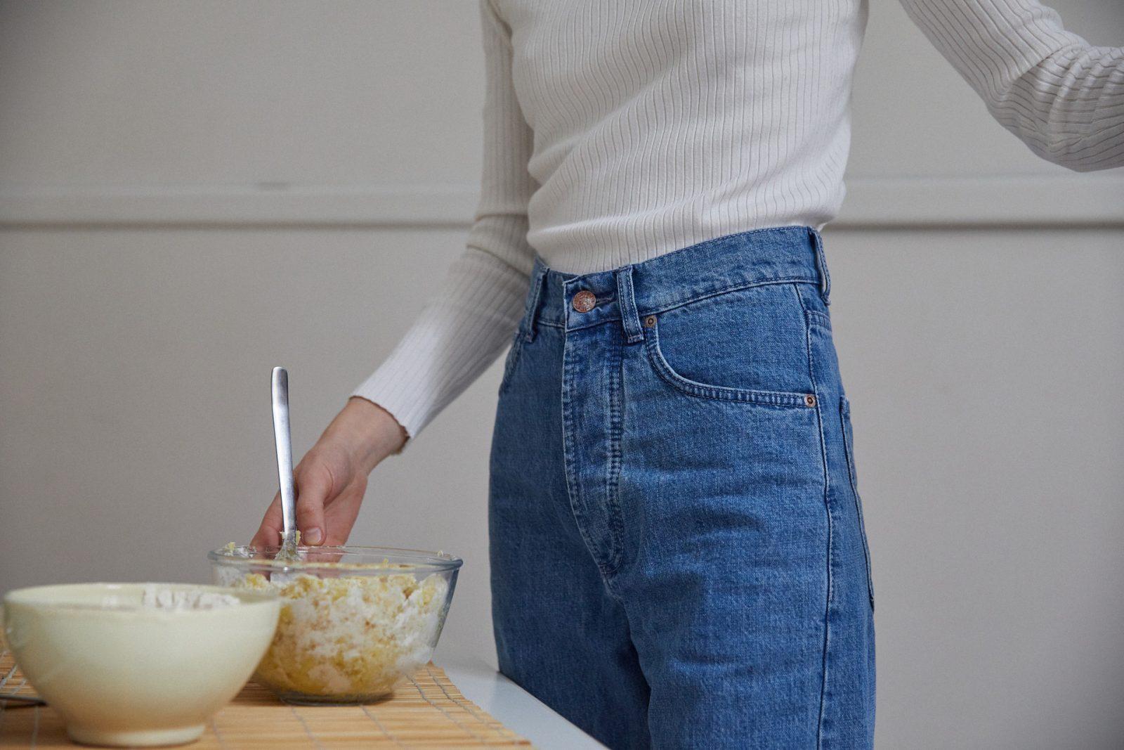 jeans denim a vita alta