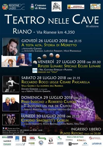 """Dal 26 al 30 luglio a Riano il """"Teatro nelle Cave"""""""