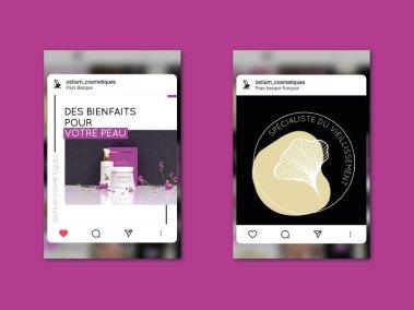 Focus de quelques posts de la page instagram Ostium cosmétiques.