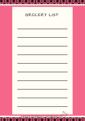 Use one of these grocery list printables to make sure you don't forget what you need.