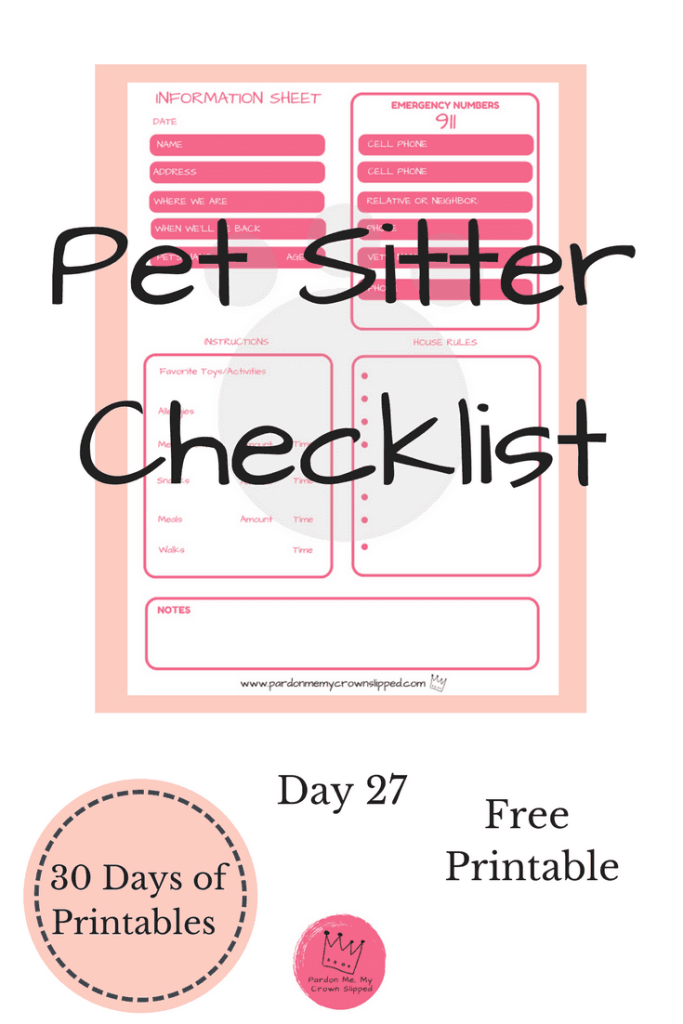pet sitter checklist printable pardon me my crown slipped