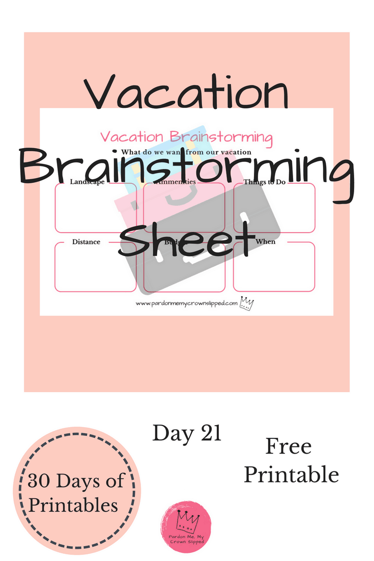 Get some vacation ideas flowing for your next get away with this printable brainstorming sheet