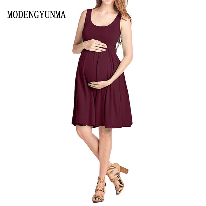 e831a5139 MODENGYUNMA Maternity Dresses Lycra Clothes For Pregnant Women Pregnancy  Clothes Maternity Clothing for photo shoot Solid Dress