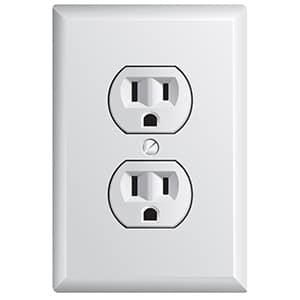 double electrical outlet in white