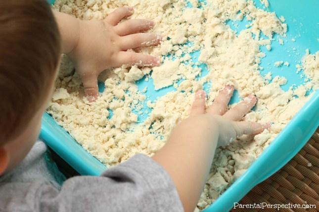 Super simple homemade cloud dough kids/toodler activity   Parental Perspective