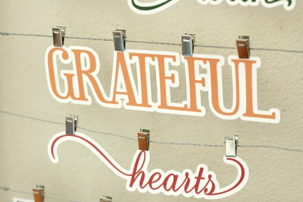 Gather here with grateful hearts: Thanksgiving phrase turned into wall art using the Silhouette advent calendar