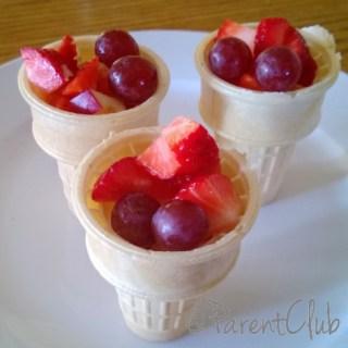 Fruit in ice cream cones