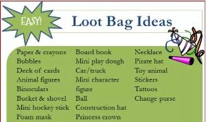 Loot Bag Ideas