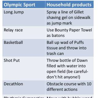 Kid Olympics using things you already have