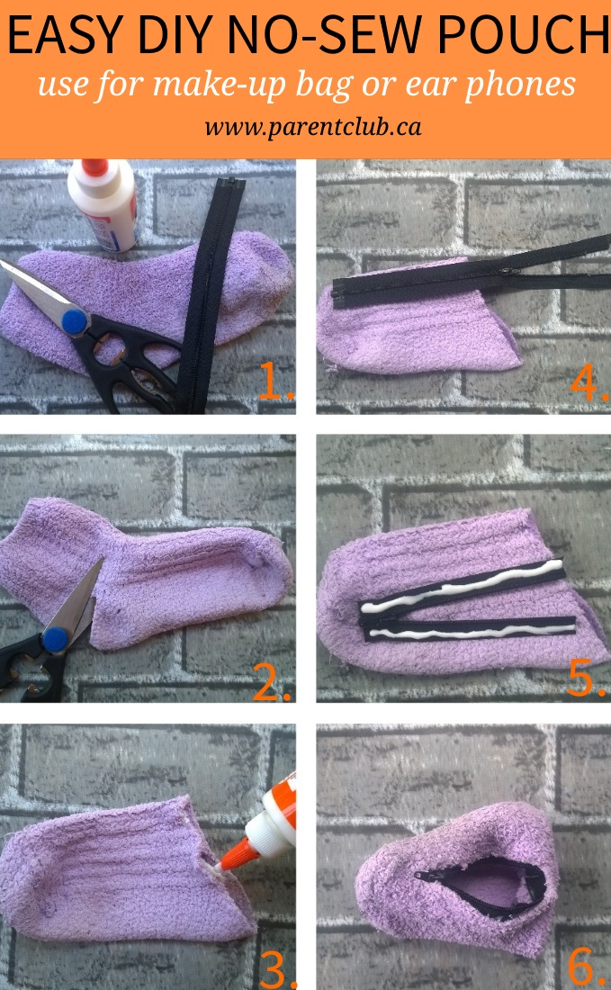 Easy DIY no-sew pouch great for make up bag or ear phones. Upcycle a sock into a no-sew fabric pouch