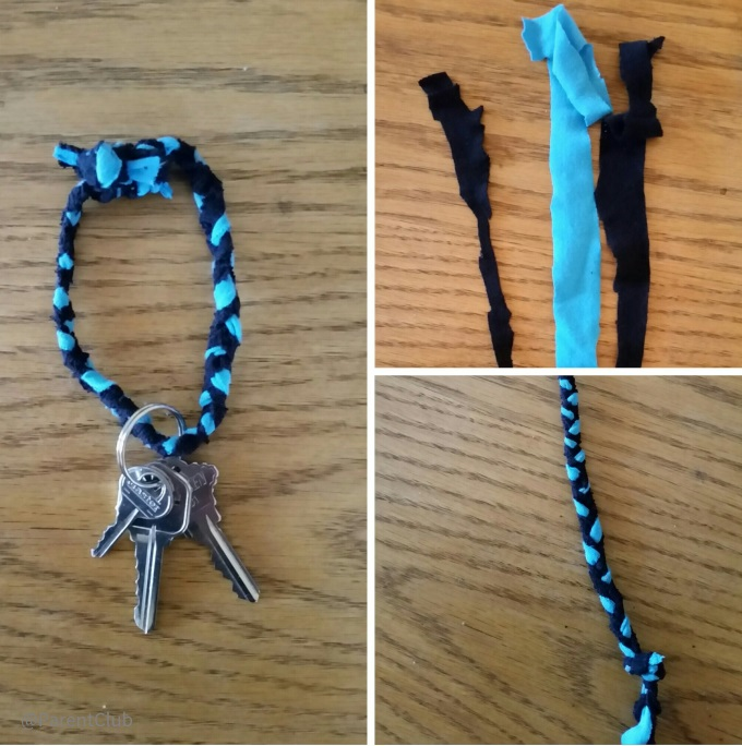 DIY t-shirt key ring, crafts for kids, crafts for teens