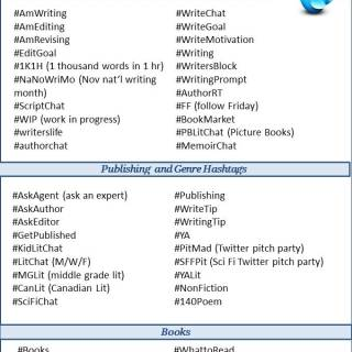 Hashtags for Authors Cheat Sheet via www.parentclub.ca