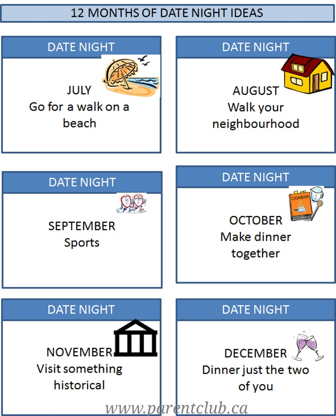 12 months of date night ideas, a year of pre-planned dates free printable via www.parentclub.ca