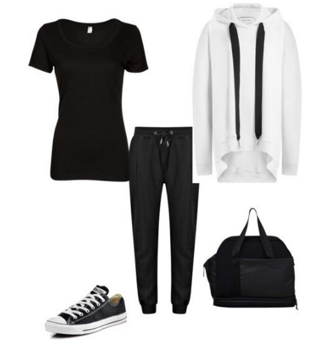 gym outfit black and white basics