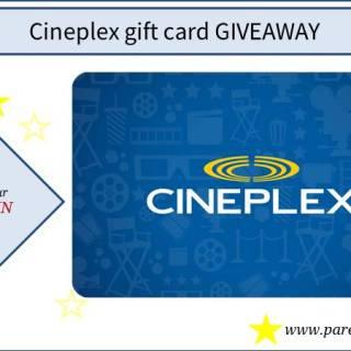 Cineplex gift card giveaway via www.parentclub.ca