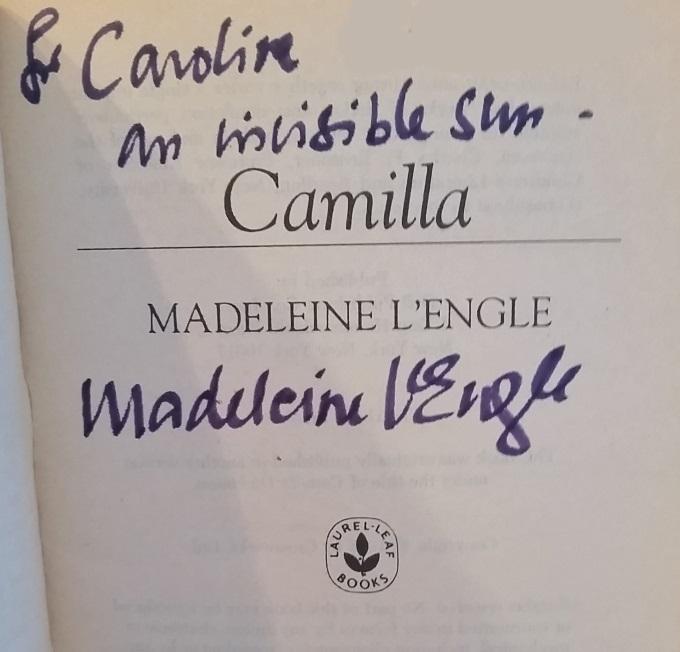 Madeleine L'Engle autograph Caroline Fernandez via www.parentclub.ca