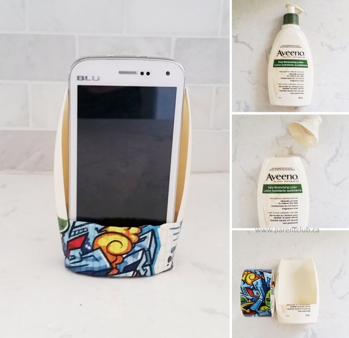 upcycle plastic bottle into phone holder and phone stand via www.parentclub.ca