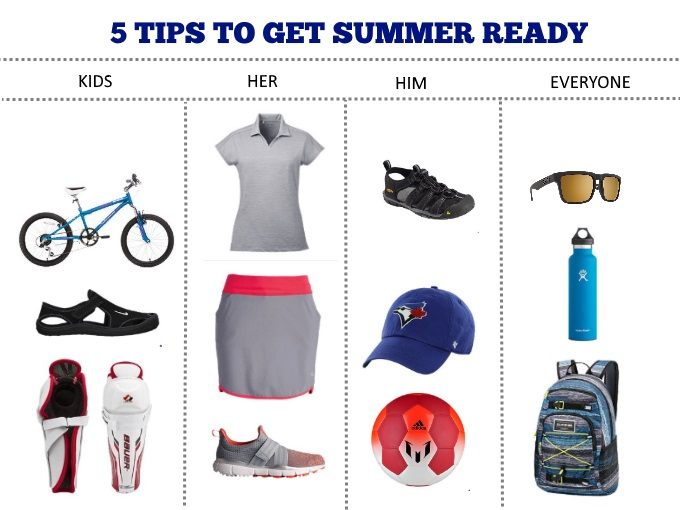 5 TIPS TO GET SUMMER ESSENTIALS READY for kids, him, her with Sport Chek via www.parentclub.ca