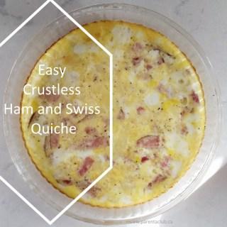 Easy Crustless ham and swiss quiche recipe via www.parentclub.ca