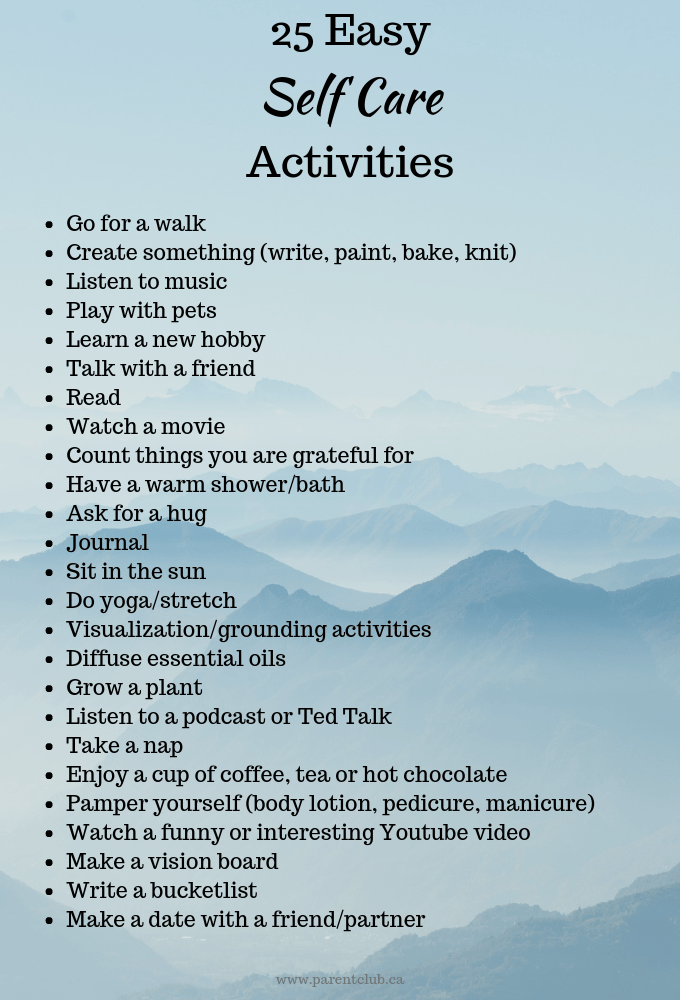 Easy self Care Activities via www.parentclub.ca