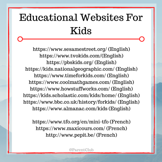 educational websites for kids via www.parentclub.ca, activities for kids, indoor activities for kids