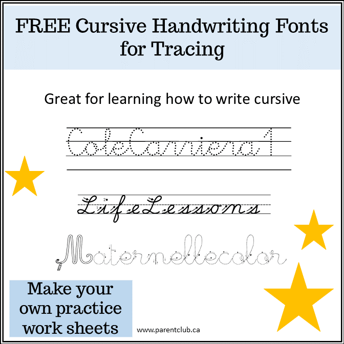 free cursive handwriting fonts for tracing
