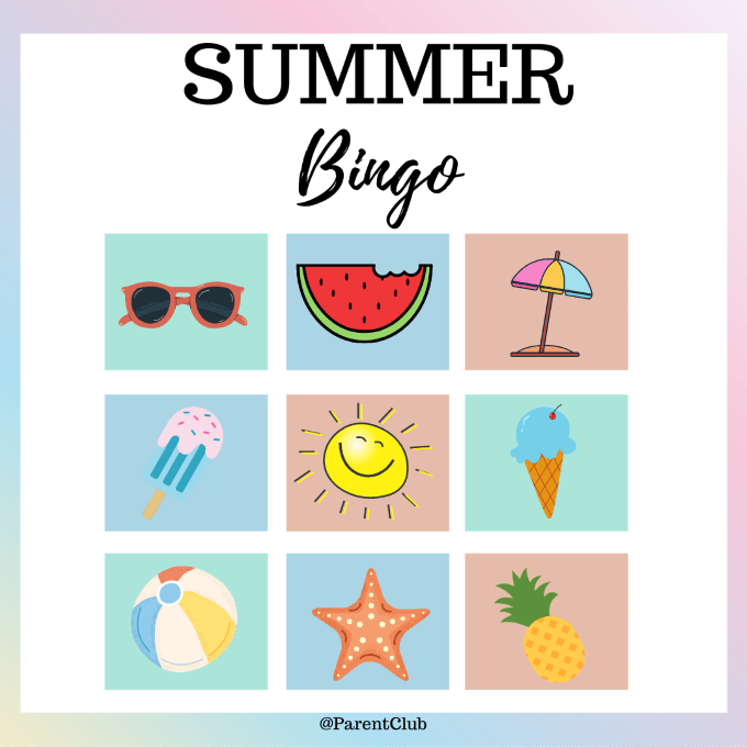 summer bingo for kids via www.parentclub.ca, summer bingo, kids activities, summer activities for kids, reading activities for kids