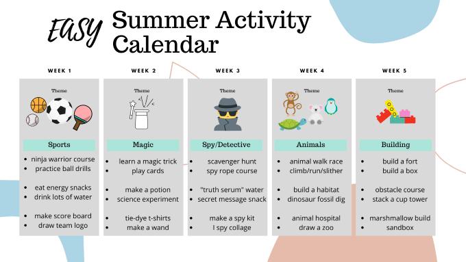Easy Summer Activity Calendar, summer activities for kids, kids activities, family fun, camp theme ideas