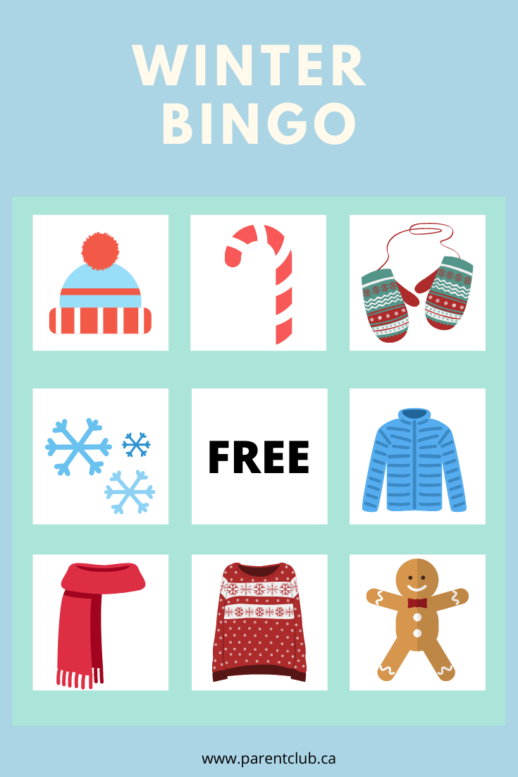 Winter Bingo for Kids via www.parentclub.ca, bingo cards, kids activities, family fun, crafts for kids