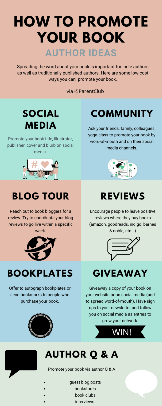 How to promote your book author ideas via www.parentclub.ca