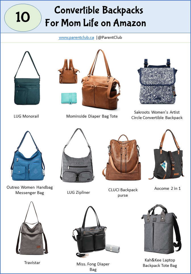 10 Convertible Backpacks for Mom Life on Amazon via www.parentclub.ca, style, lifestyle, backpacks, totes, cross body bags