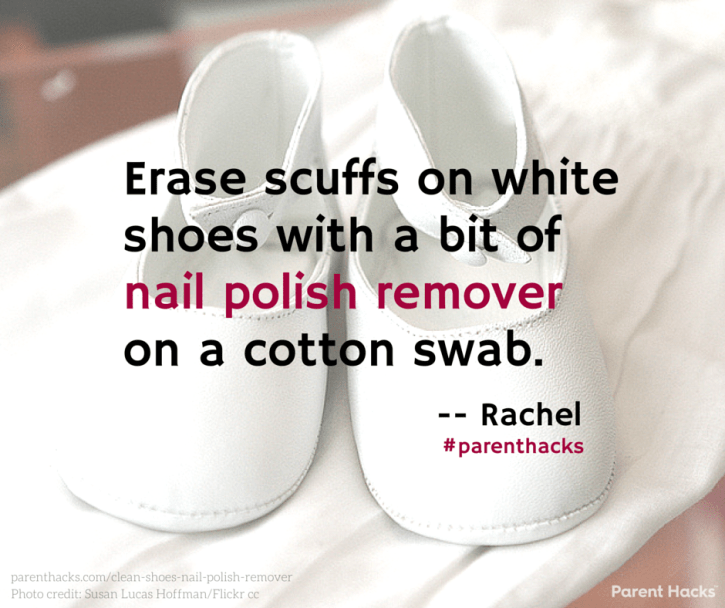 Erase Scuffs On White Shoes With A Bit Of Nail Polish Remover Cotton Swab